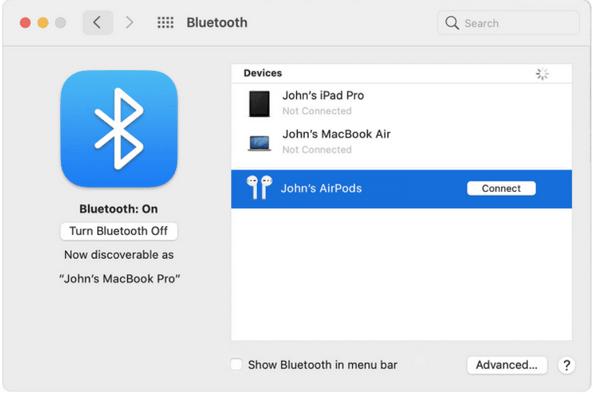 Navigieren Sie erneut zum Bluetooth-Menü