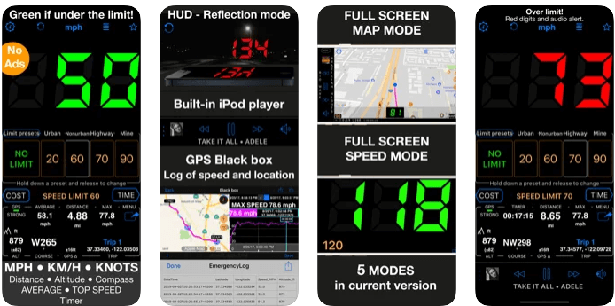 Tachometer 55 GPS-Geschwindigkeit & HUD