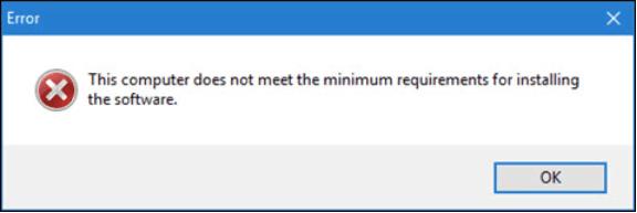 Dieser Computer erfüllt nicht die Mindestanforderungen