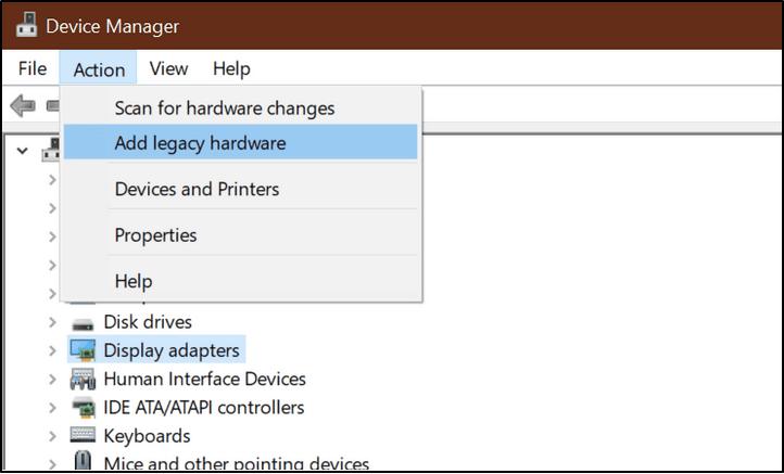 Legacy-Hardware hinzufügen