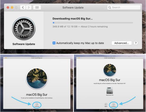 Installieren Sie das macOS Big Sur-Update