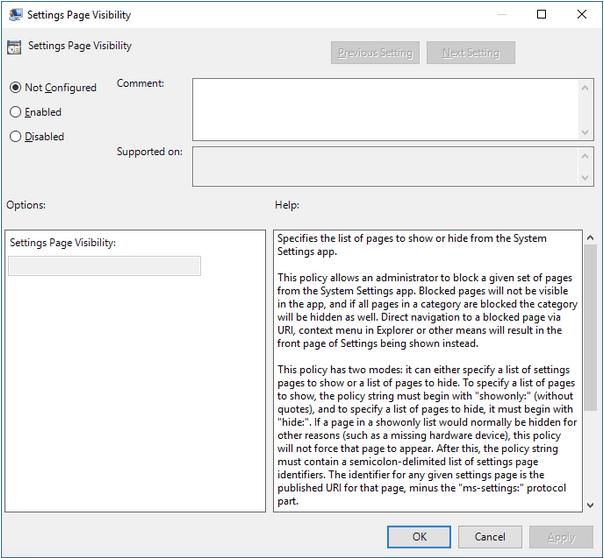 """Tippen Sie auf das Optionsfeld """"Nicht konfiguriert"""""""