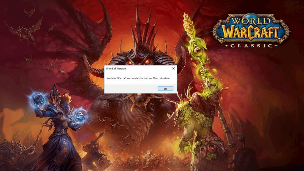 World of Warcraft konnte 3D-Beschleunigungsfehler nicht starten