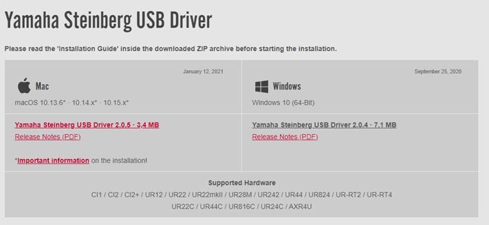 Yamaha Steinberg USB-Treiber