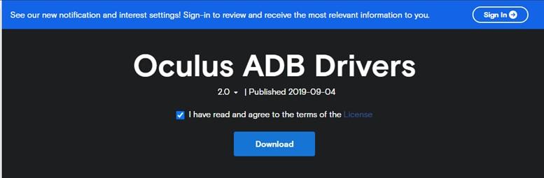 Oculus-Treiber-Update-Website