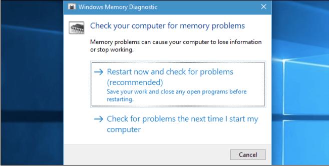 Führen Sie das Windows-Speicherdiagnosetool aus