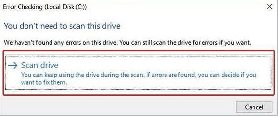 Klicken Sie auf Laufwerk scannen und reparieren.