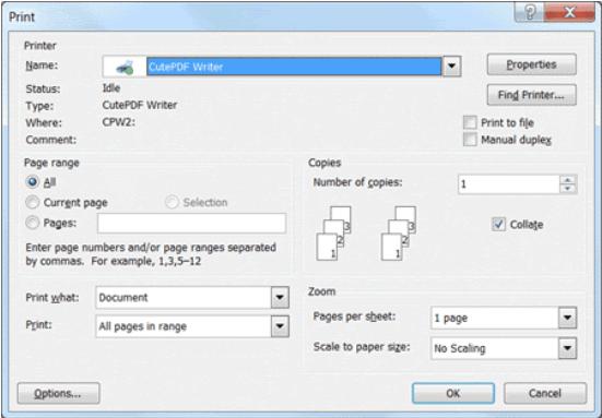 Drucken in PDF auf dem Mac mit CutePDF Writer