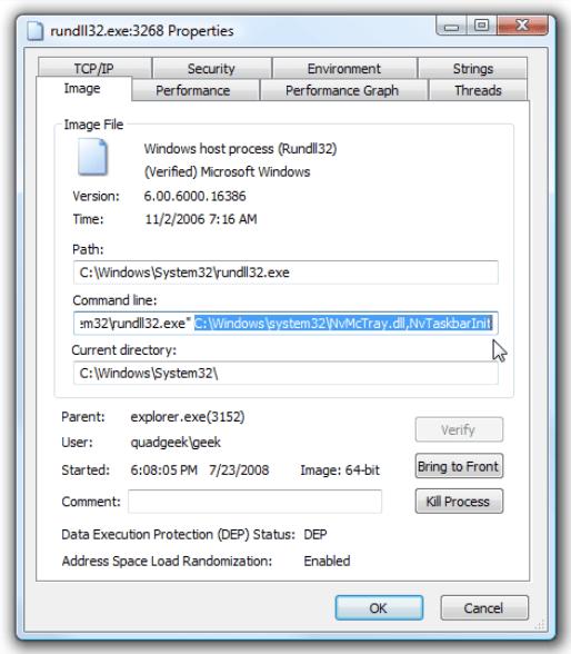 Im Eigenschaftenfenster von Rundll32.exe