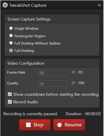 TweakShot-Tool zur Bildschirmaufnahme.