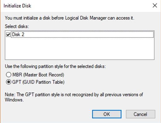 eine Festplatte initialisieren