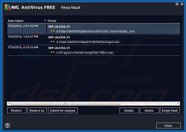 AVG Antivirus - IDP.Alexa.51 Virus entfernen