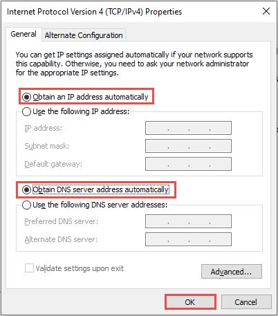 Соединение не имеет действительной IP-конфигурации