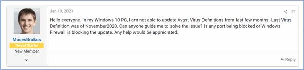 Avast aktualisiert Virusdefinitionen nicht