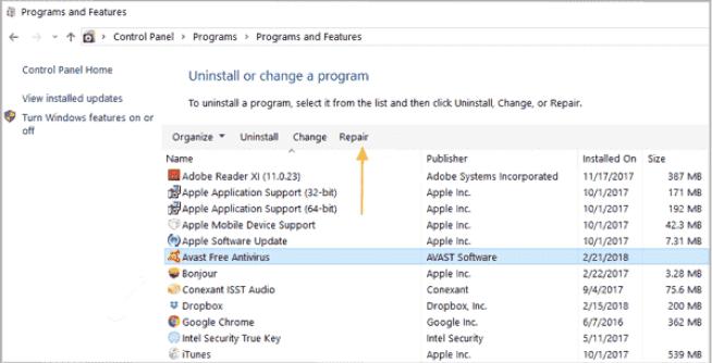 Avast не может восстановить файлы