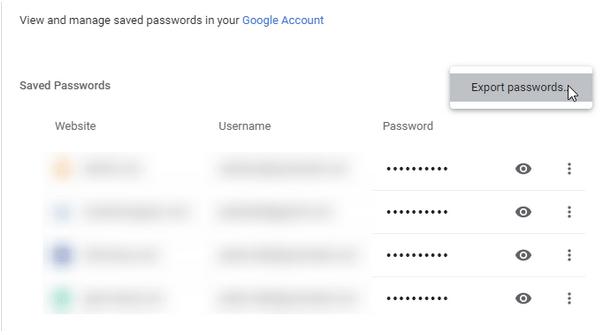 Экспорт паролей