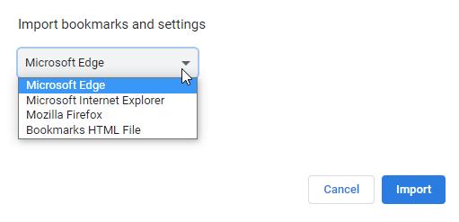 Импорт сохраненных паролей из других браузеров