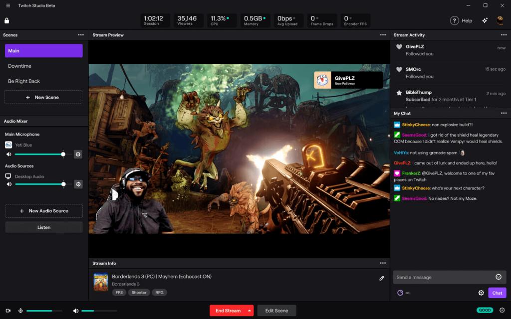 Бета-версия Twitch Studio