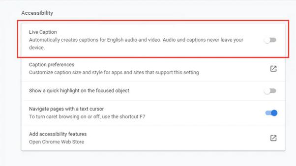 Отключить живые субтитры в Google Chrome