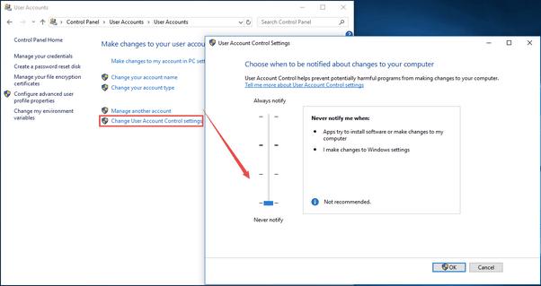 Deaktivieren Sie UAC (Benutzerkontensteuerung) unter Windows 10