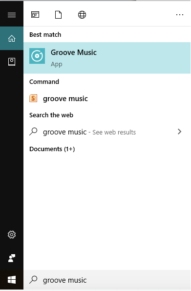 Окно приложения Groove Music