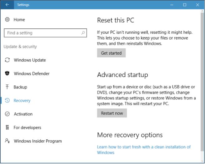 Сбросить Windows 10
