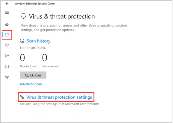 Einstellungen für Viren- und Bedrohungsschutz