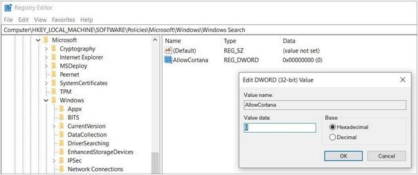 Deinstallieren Sie Cortana über die Windows-Registrierung