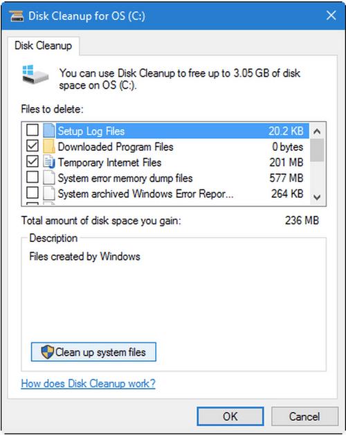 Используйте инструмент очистки диска