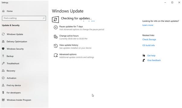 Windows, чтобы проверить наличие доступных обновлений