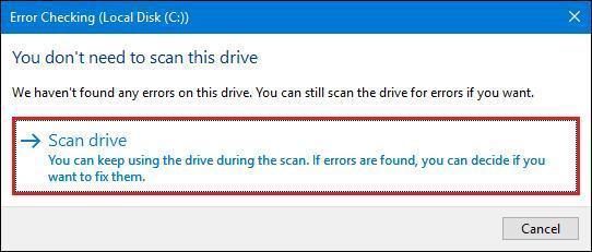Volume enthält keinen erkannten Dateisystemfehler