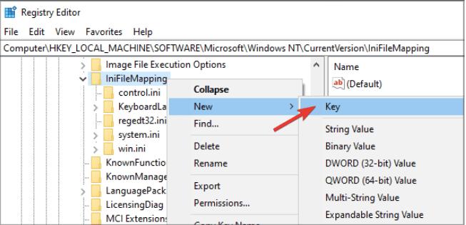 Создать новый ключ реестра