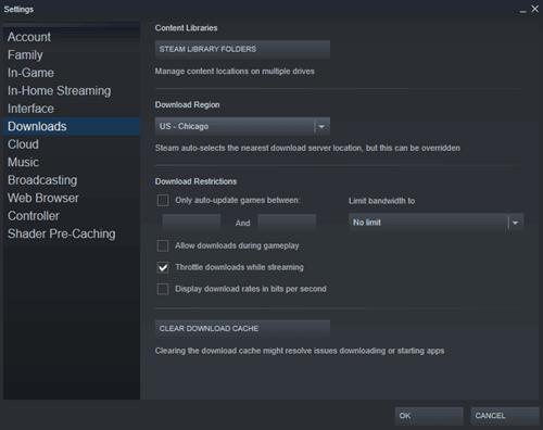 увеличить скорость загрузки в Steam
