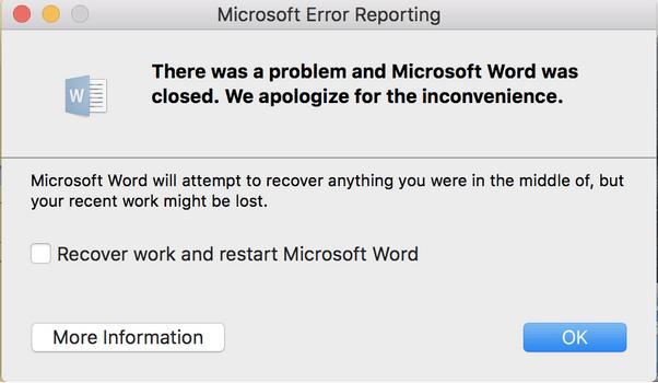 Microsoft Word продолжает вылетать на Mac