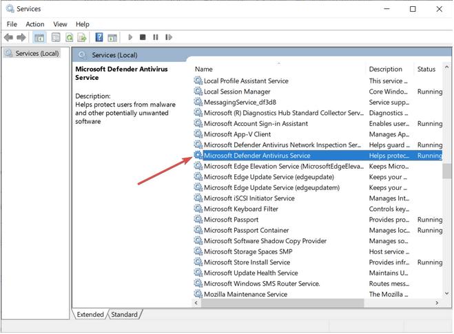 Konfiguration des Windows Defender-Dienstes starten