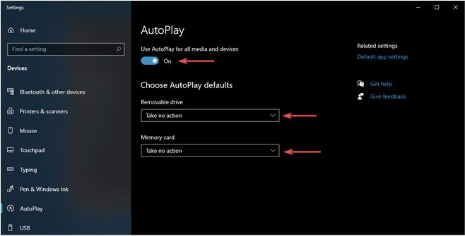 Использование настроек Windows по умолчанию