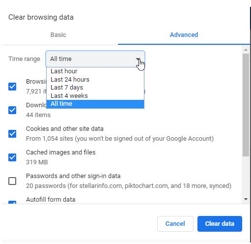 Удалить историю браузера