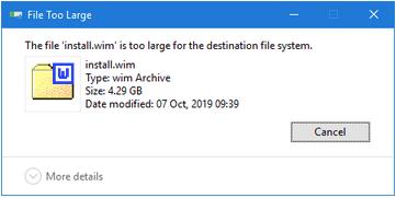 Файл слишком велик для целевой файловой системы