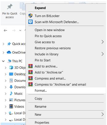 Отформатируйте USB в файловую систему NTFS