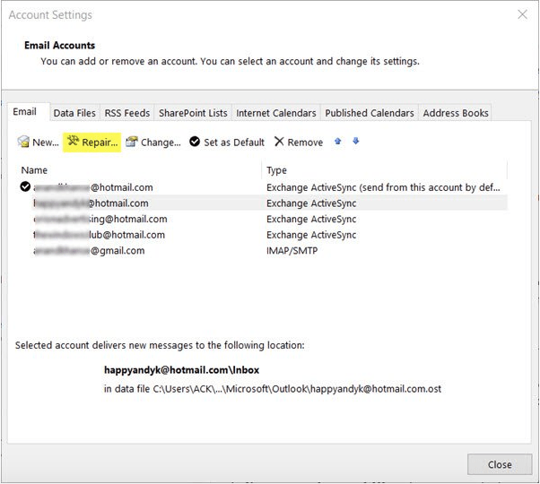 Восстановить учетную запись Outlook