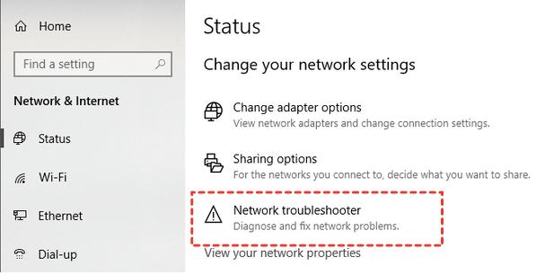 Führen Sie die Netzwerk-Fehlerbehebung aus