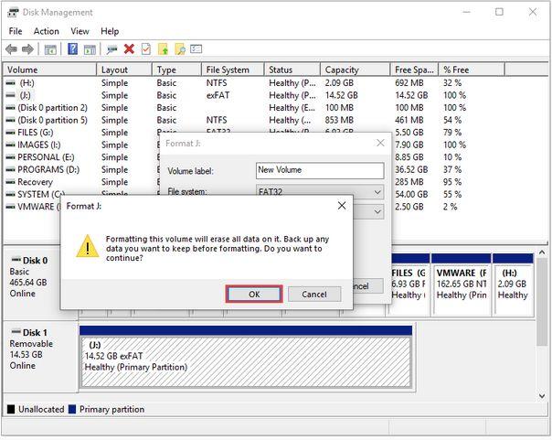 процесс форматирования диска