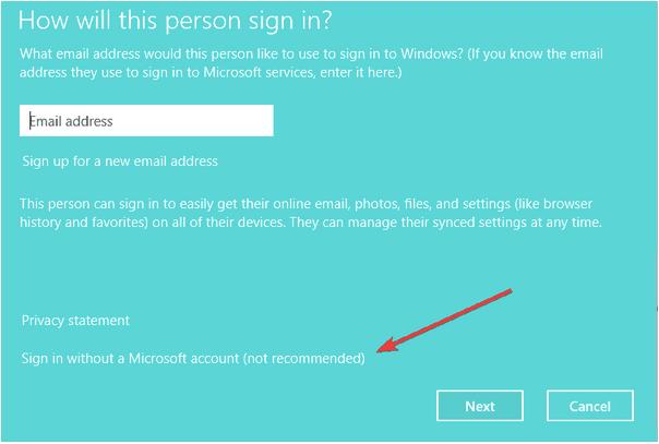 Войти без учетной записи Microsoft