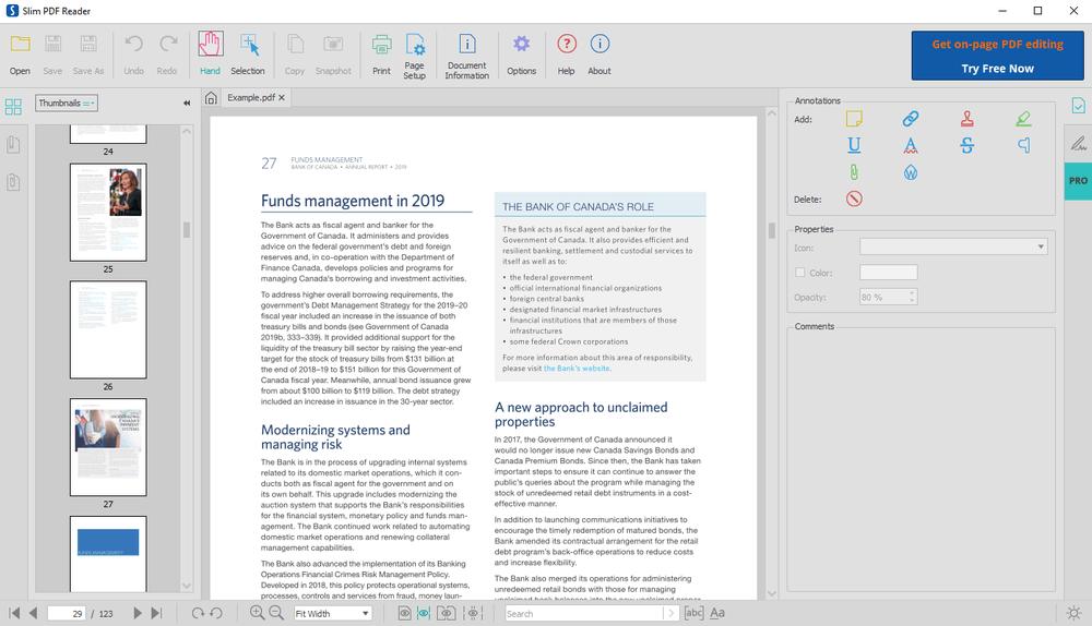 Тонкий PDF-ридер