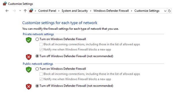Aktivieren Sie die Windows Defender-Firewall