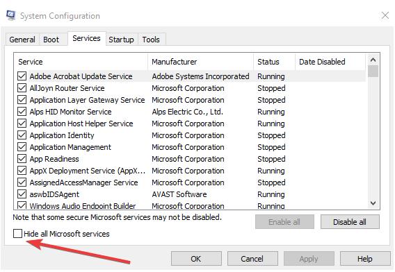 Verstecke alle Microsoft-Dienste