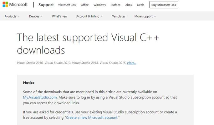 Visual C++ installieren