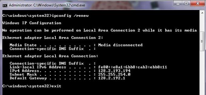 Обновите свой IP-адрес