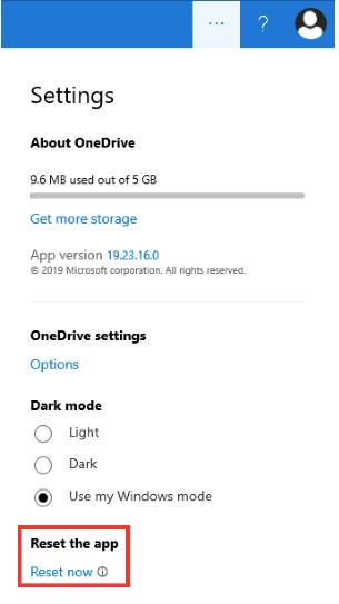 OneDrive-App zurücksetzen