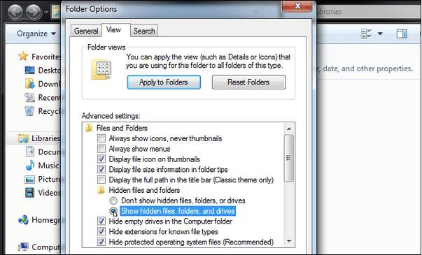 Dateien und Ordner einblenden